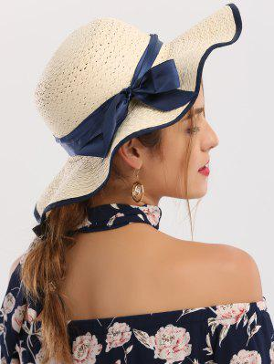 Woven Wide Brim Ribbon Bowknot Straw Hat - Ivory