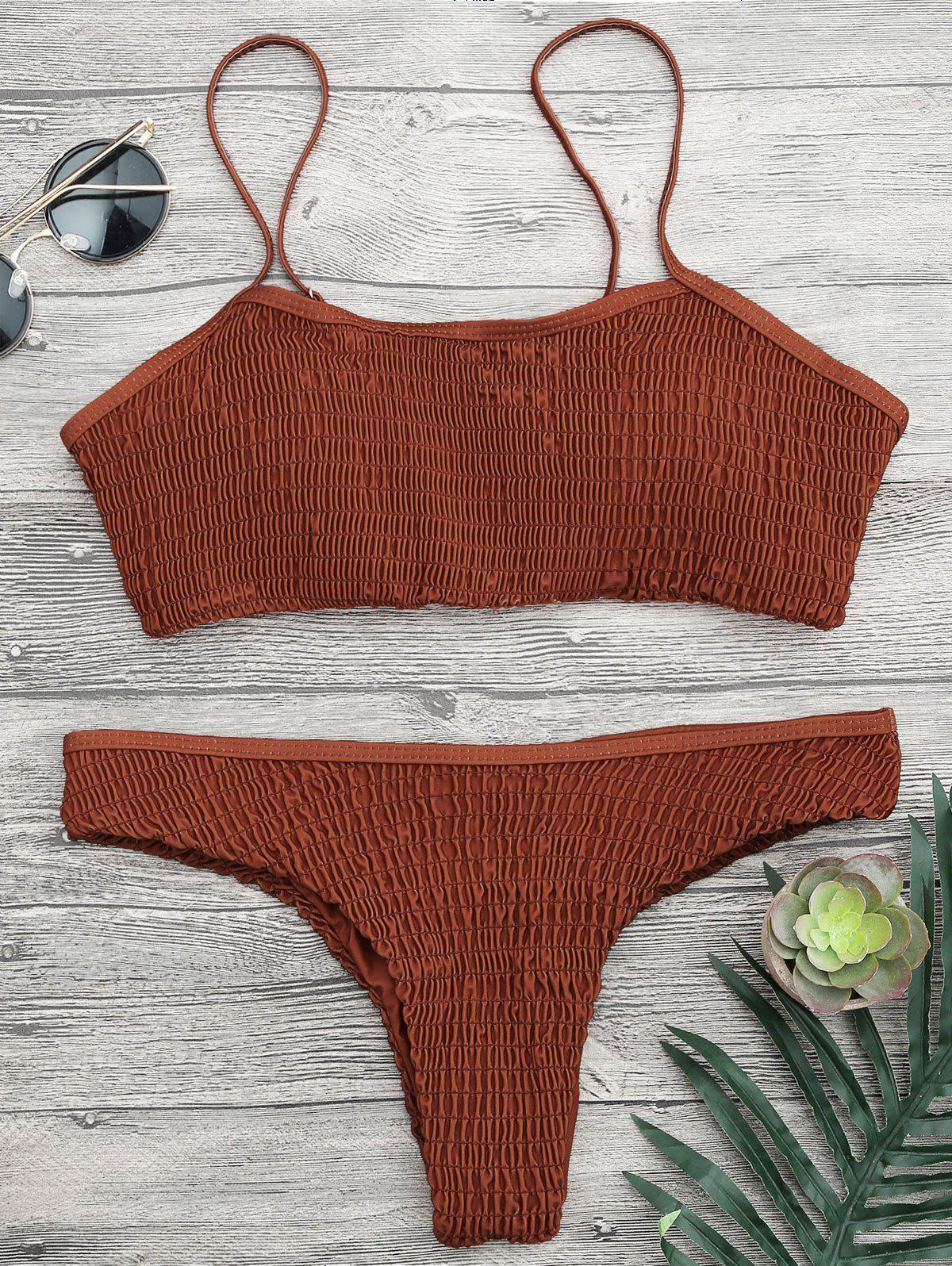 Cami Smocked Bralette Bikini Set 214484703