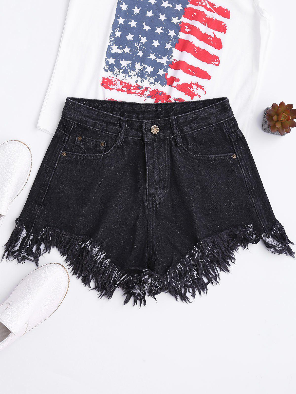 Wide Leg Frayed Hem Denim Shorts, Black