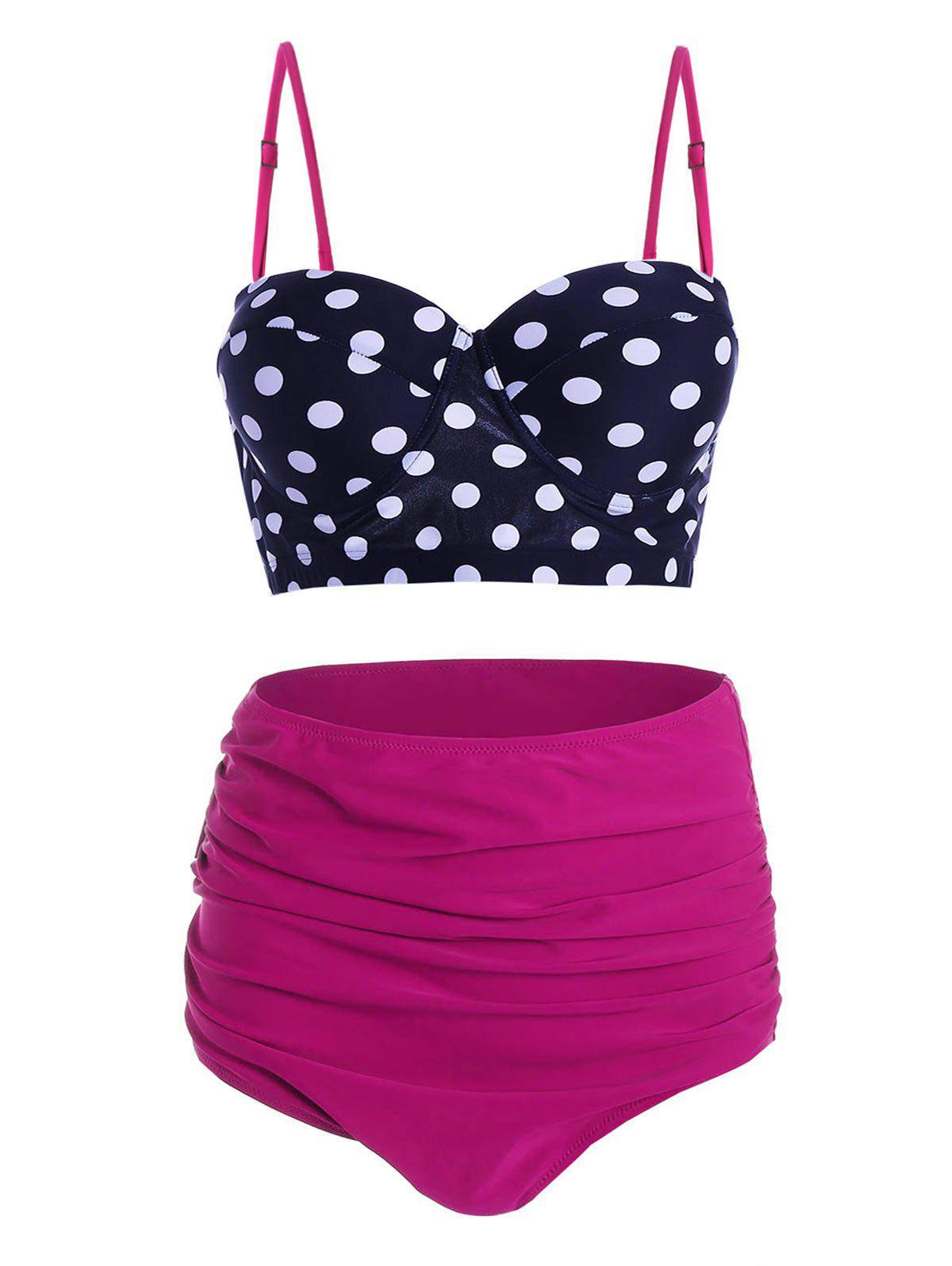 Plus Size Underwire Polka Dot High Waisted Bikini Set 213028401
