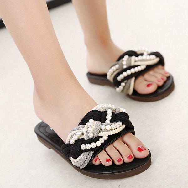 Flat Heel Beading Slippers 214519903