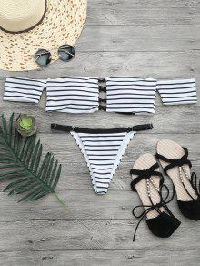 V String Off The Shoulder Bikini Set - White And Black L