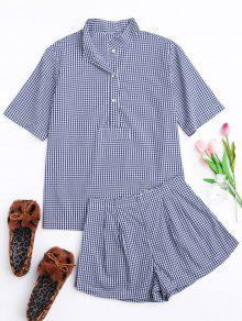 Half Button Checked Shirt With Short Loungewear - Plaid M