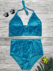 High Waisted Longline Bikini Top And Bottoms - Lake Blue Xl