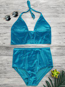 High Waisted Longline Bikini Top And Bottoms - Lake Blue S
