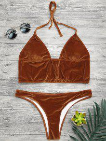 Longline Bikini Top And High Leg Bottoms - Gold Brown S