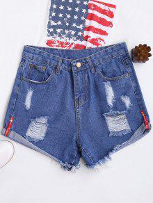 High Waisted Curled Hem Ripped Denim Shorts - Blue L