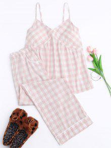 Padded Checked Cami Top With Pants Loungewear - Pink S