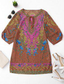 Side Slit Ethnic Printed Tunic Dress - S