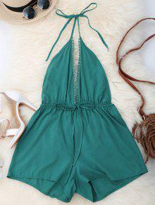 Plunge Open Back Romper - Green L