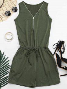 Belted Half Zip Romper - Army Green M
