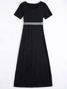 Mesh Panel Side Split Long Dress - Black L