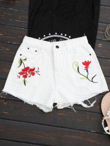 Embroidered Ripped Denim Cutoff Shorts - White Xl
