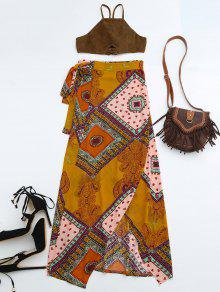 Cropped Faux Suede Top And Wrap Tribal Print Maxi Skirt - S