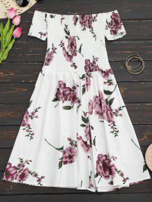 Robe D'été Imprimée Fleur épaules Dénudées - Blanc S