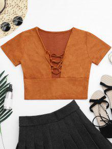 Faux Suede Lace Up Cropped Top - Orangepink M