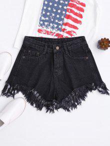 Wide Leg Frayed Hem Denim Shorts - Black M