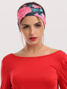Floral Printing Elastic Athletic Wide Headband - Black