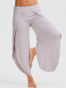 Shirred Waist Tulip Cover Up Pants - Pale Pinkish Grey L