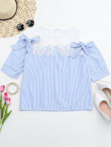 Lace Trim Striped Cold Shoulder Top - Stripe