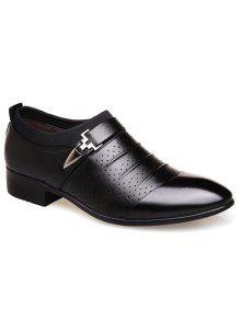 فو الجلود تنفس الأحذية الرسمية - أسود 43