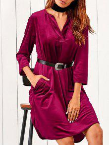 Robe Velours Mi Mollet à Col V Embellie Poches - Rouge S