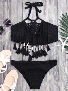 Borlas Con Cuentas De Ganchillo Bikini - Negro S