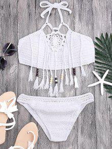 Tassels Beaded Crochet Bikini - White S