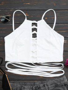Buy Criss Cross Lace Crop Top - WHITE M