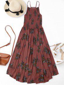 فستان ميدي سموكيد طباعة الأزهار بخط A - الأزهار M