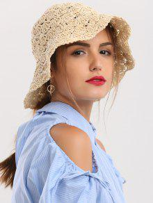 Folding Crocheting Breathable Straw Hat - Beige