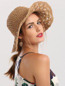 Wide Brim Folding Crocheting Straw Hat - Khaki