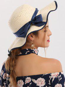 Woven Wide Brim Ribbon Bowknot Straw Hat - Ivory