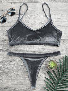 V String Thong Bralette Bikini Set - Gray S