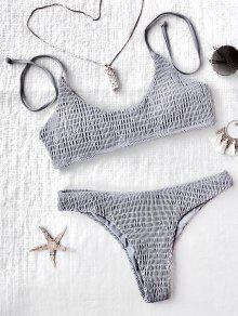 Padded Smocked Bralette Bikini Set - Gray M
