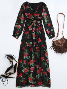 Maxi Vestido Con Escote Cruzado De Flores Con Cinturón - Floral Xl