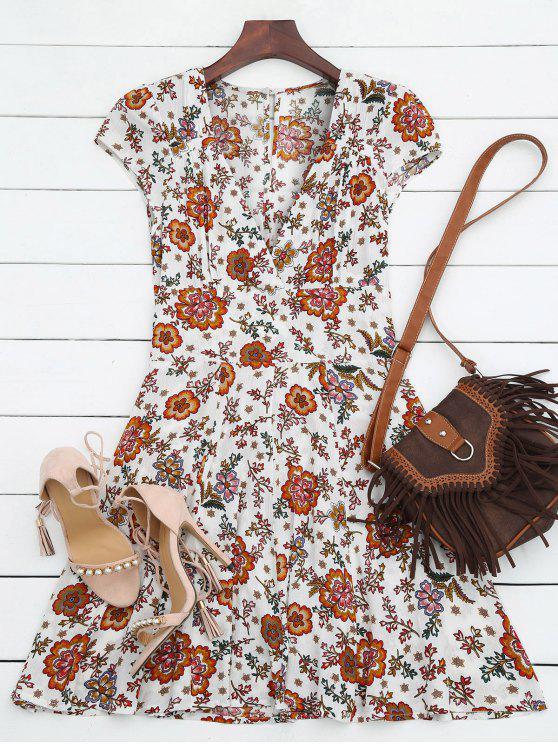 robe jaune et droite à col plongeant en floral  et à manches courtes et en mousseline de soie - Blanc S