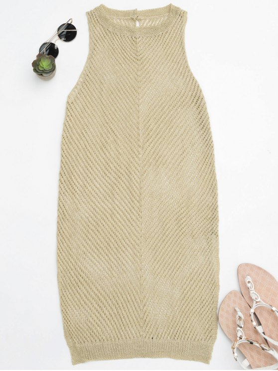 hot Open Knit Beach Tank Dress Cover Up - GOLDEN ONE SIZE