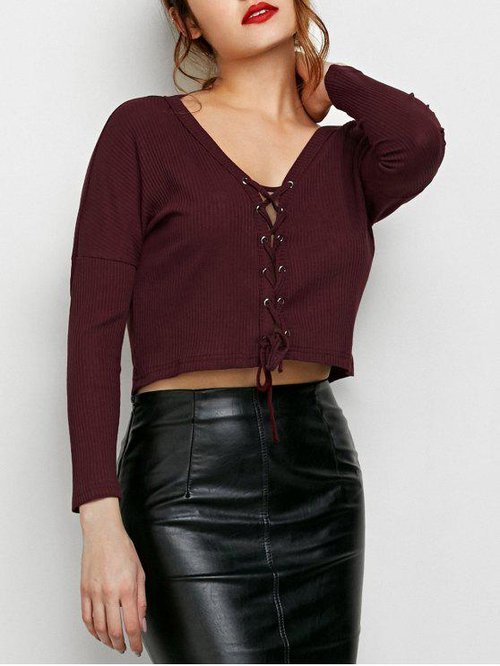 ladies Lace Up Ribbed Cropped Cardigan - BURGUNDY L