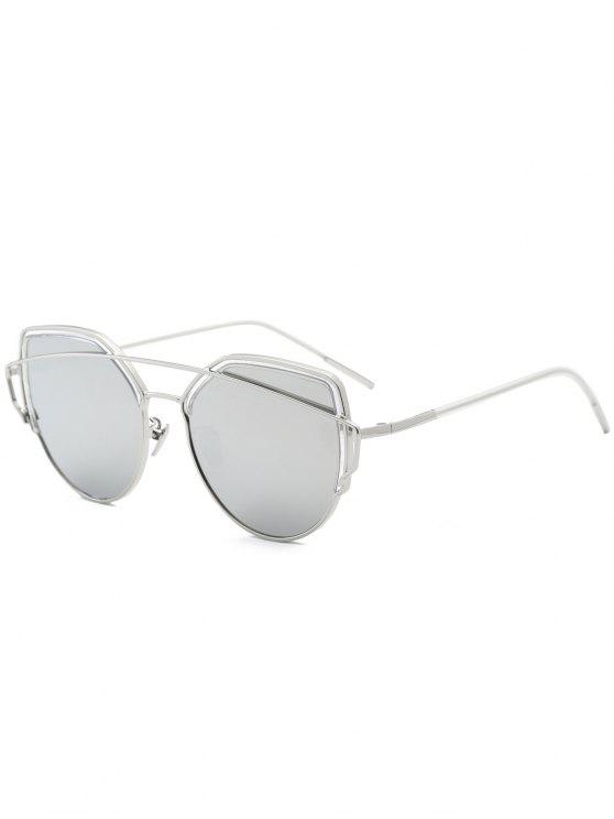 shop Cat Eye Metal Crossbar Sunglasses - SILVER