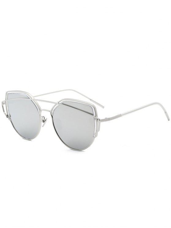 Metall Querlatte Katze Auge Sonnenbrille - silber