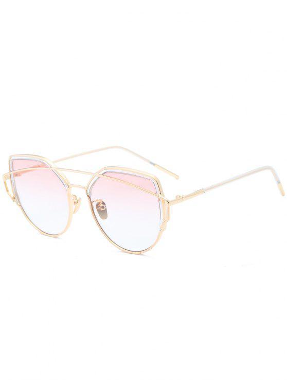 Metall Querlatte Katze Auge Sonnenbrille - Perle Hell Rosa