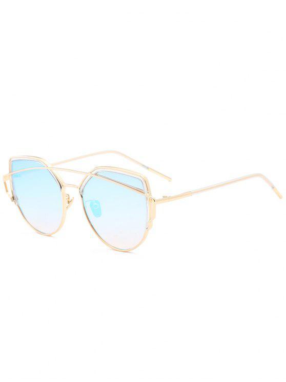 Cat Eye Metal Crossbar Lunettes de soleil - Bleu clair
