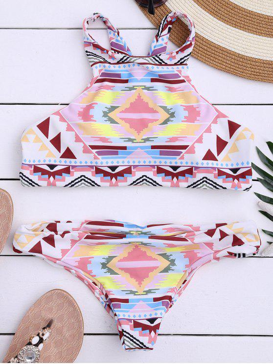 latest Aztec Print High Neck Bathing Suit - MULTICOLOR L