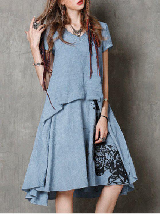 Cuello redondo manga corta de la tinta de impresión vestido retro - Azul L