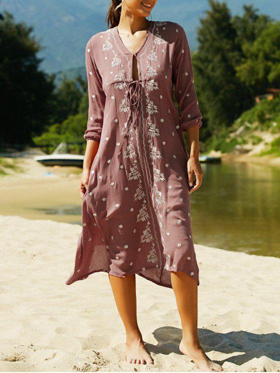 Col en V à manches 3/4 brodé style ethnique robe - Clairet M