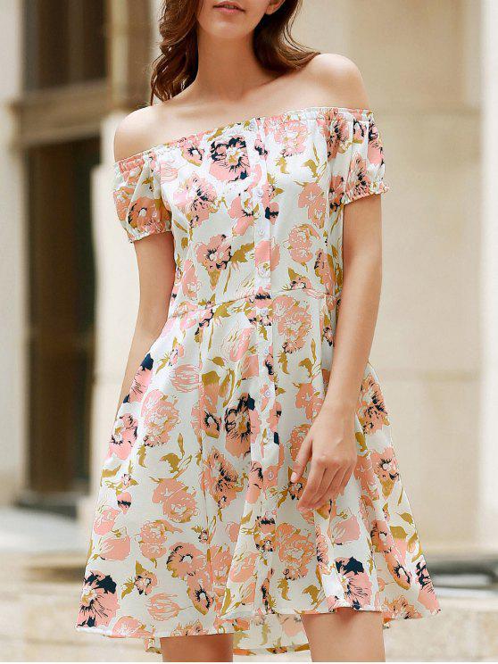 فستان طبع الزهور و الكتف العار و الكمين القصيرين - Colormix L