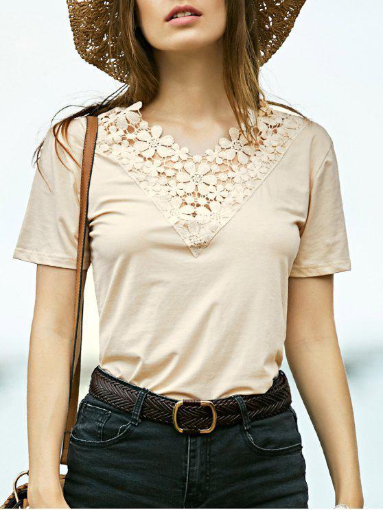 hot Lace Spliced V-Neck Short Sleeve T-Shirt - OFF-WHITE S
