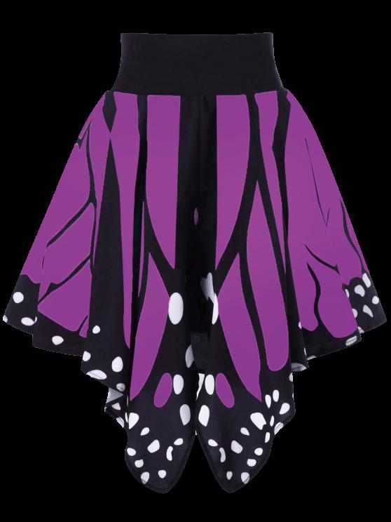 Jupe Graphique en Forme de Papillon Taille Haute - Pourpre  2XL