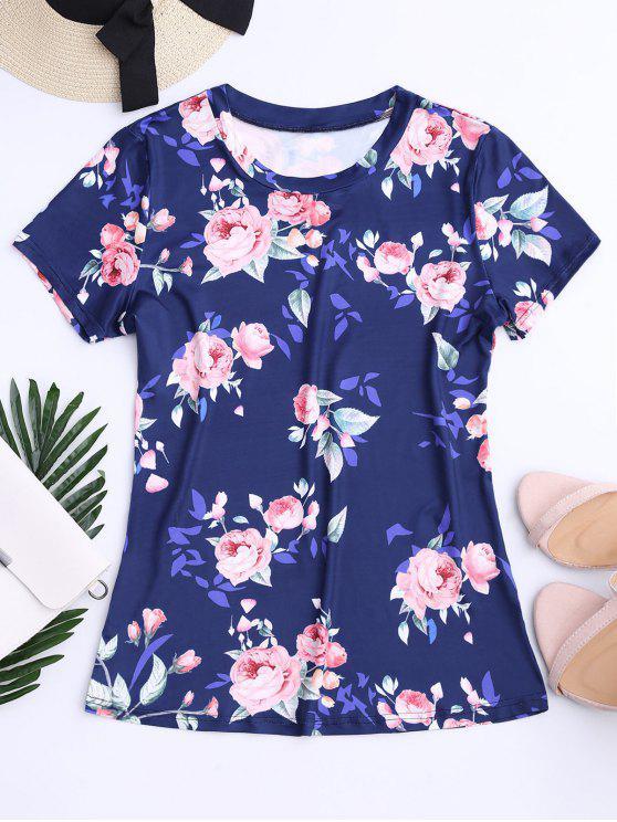 Impresión de Rose del cuello de equipo T-shirt - Marina de Guerra S